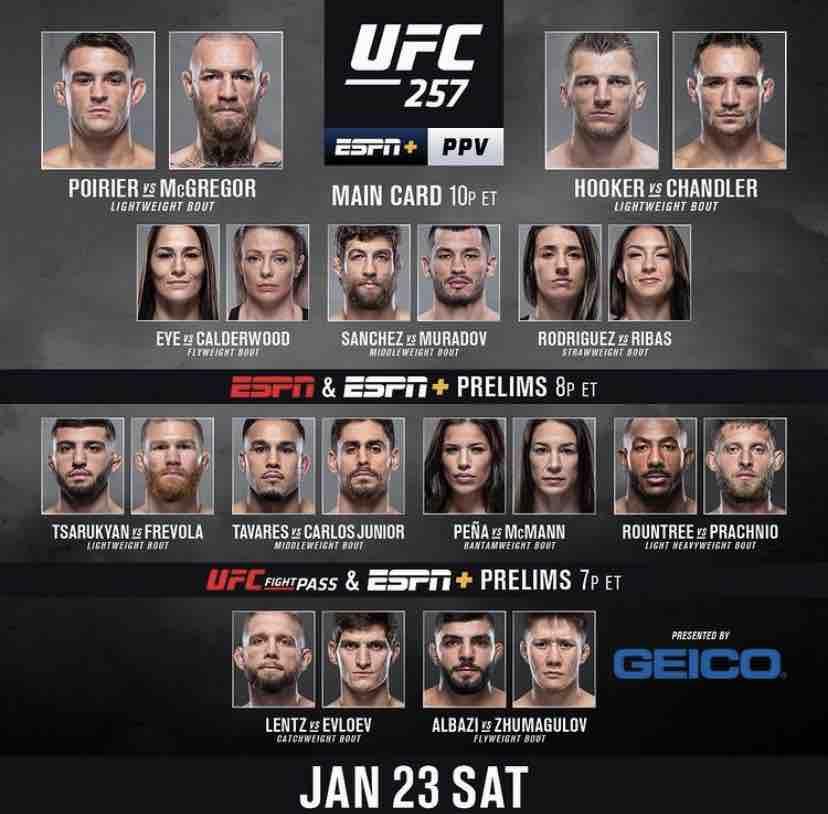 UFC 257 Fight Card